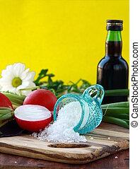 keukenkruiden, zout, groentes