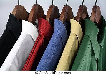 keuze, van, kleurrijke, overhemden