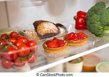 keuze, van, voedingsmiddelen, in, de, fridge, thuis