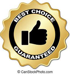 keuze, vector, guaranteed, best, etiket