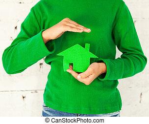 kevés, épület, zöld, hatalom kezezés, leány