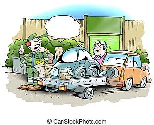 kevés, övé, öreg, középcsatár, autó, darabka, újrafelhasználás, ember