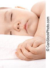 kevés, övé, együtt, alvás, kézbesít, gyermek, átkaroló