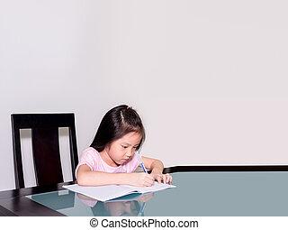 kevés, övé, tanulás, ázsia, otthon, diák, lecke, otthon, leány, oktatás, asztal