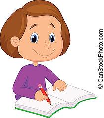 kevés, őőő, leány, karikatúra, írás