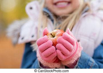 kevés, alma, feláll, ősz, kitart sűrű, leány