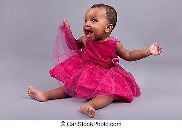 kevés, amerikai, afrikai, csecsemő lány, imádnivaló