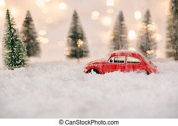 kevés, apró autó, snow., megragadt, piros