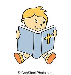 kevés, biblia, ábra, vektor, mosolygós, felolvasás, kölyök