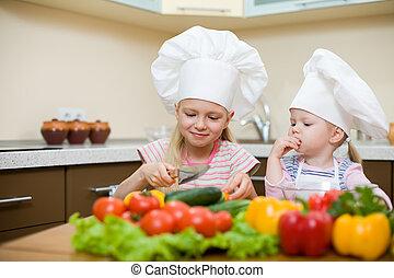 kevés, egészséges, lány, két, élelmiszer, előkészítő, konyha