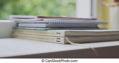 kevés, előjegyez, és, jegyzetfüzet, lefektetés