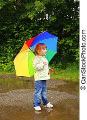 kevés, esernyő, leány, eső