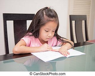kevés, felolvasás, tanulás, ázsia, könyv, diák, asztal, otthon, leány, oktatás, otthon