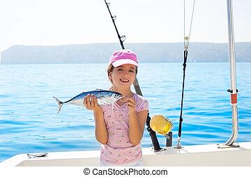 kevés,  fish, rúd,  tunny, csónakázik, halászat, birtok, gyermek, elkap, leány, blinkerezés, tonhal, csévél