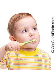 kevés, fogászati, gyermek, fogkefe, csalit fog