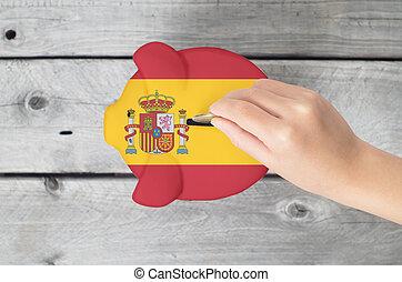kevés, fogalom, megmentés, kéz, csöpögés, falánk, érme, spanyolország
