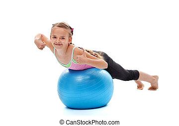 kevés, gyakorlás, leány, élvez, erőfeszítés, fizikai