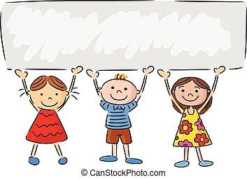 kevés, gyerekek, transzparens, karikatúra, birtok