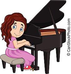 kevés, játék zongora, leány, karikatúra