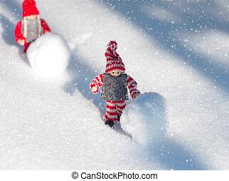 kevés, játékszer, férfiak, két, hóesés, hó, játék