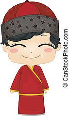 kevés, kínai, fiú, fárasztó, nemzeti, jelmez, changsam