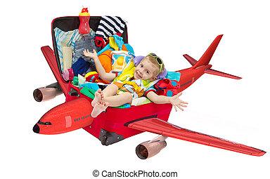 kevés, kölyök, repülés, alatt, utazás, bőrönd, zsúfolt, helyett, szünidő