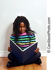 kevés, könyv, fekete, felolvasás, leány