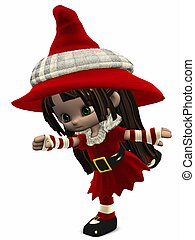 kevés, karácsony, elf-toon, alak