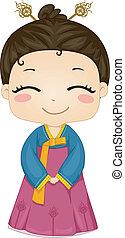 kevés, koreai, leány, fárasztó, nemzeti, jelmez