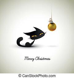 kevés, macska, izgatott, körülbelül, karácsony, földgolyó,...