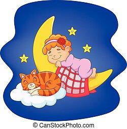 kevés, macska, leány, alvás, csinos