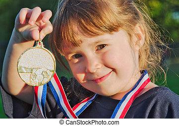 kevés, medalist, arany