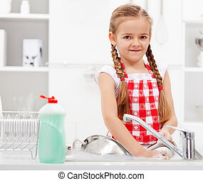 kevés, mosás, leány, edények, konyha