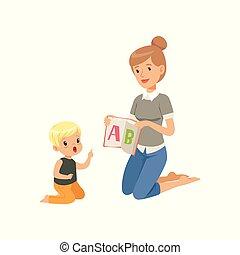 kevés, nő, nyelv, abc, izbogis, kiállítás, emelet, elemi, fiú, osztály, vektor, ábra, levél, gyermek, alapvető, tanítás, ülés, oktatás, tanár, preschool