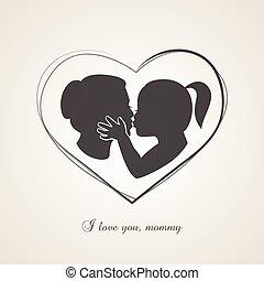 kevés, neki, anyák, anyu, csókolózás, leány, nap