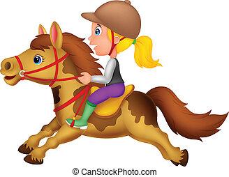 kevés, póni, h, lovaglás, leány, karikatúra