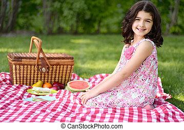 kevés, piknik, leány