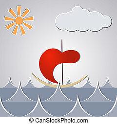 kevés, rajz, át, hajó, karikatúra, waves.