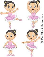 kevés, táncos, balett, karikatúra