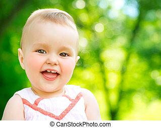 kevés, természet, külső, háttér, gyermek, csecsemő, portré, leány, felett
