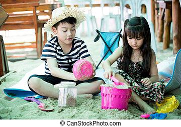 kevés, tropikus, gyermek, tengerpart, játék, boldog