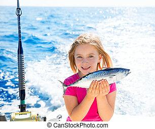 kevés,  tunny, halászat, szőke, elkap, tonhal, kölyök, leány, boldog