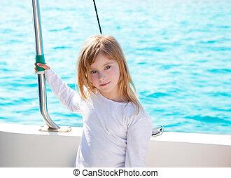 kevés, vitorlázás, szőke, lány mosolyog, csónakázik, kölyök