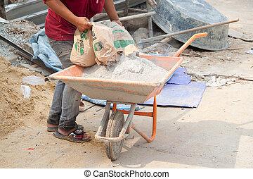 keverés, munkás, ember, építő, cement