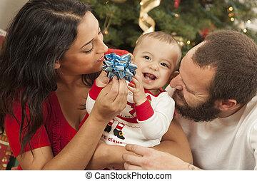 kevert, fiatal, portré, karácsony, család, faj