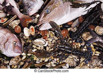 kevert, fish, és, tenger táplálék