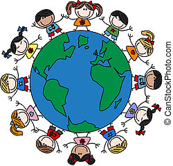 kevert, gyerekek, etnikai, boldog