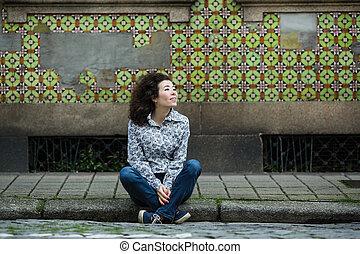 kevert, portugal., nő, faj, photoshoot, büntetés, belvárosi, fiatal