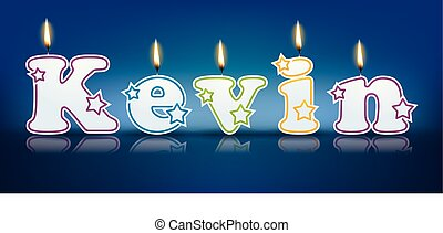 KEVIN written with burning candles - vector illustration