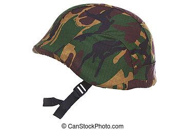 kevlar, casque, camouflage, coupé